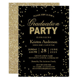 Graduation party invitations zazzle modern gold glitter sparkles graduation party card filmwisefo Images