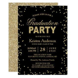 Modern Gold Glitter Sparkles Graduation Party Card at Zazzle