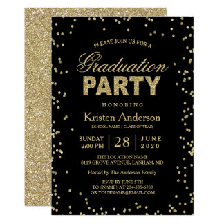 Graduation party invitations announcements zazzle modern gold glitter sparkles graduation party card stopboris Gallery