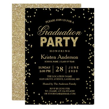 CardHunter Modern Gold Glitter Sparkles Graduation Party Card