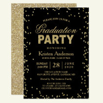 Modern Gold Glitter Sparkles Graduation Party Invitation