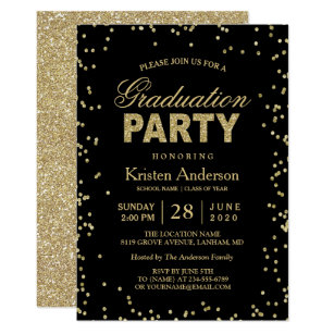 Graduation invitations zazzle modern gold glitter sparkles graduation party invitation solutioingenieria Gallery