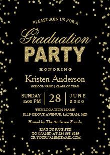 Modern Gold Glitter Sparkles Graduation Party Invitation