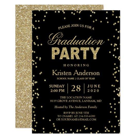 Modern gold glitter sparkles graduation party invitation zazzle modern gold glitter sparkles graduation party invitation filmwisefo
