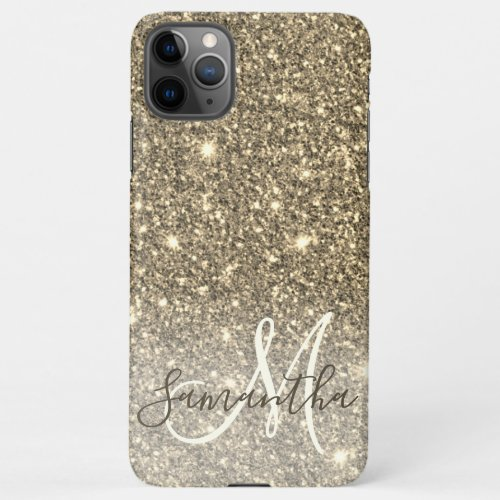 Modern Gold Glitter Sparkles Personalized Name iPhone 11Pro Max Case