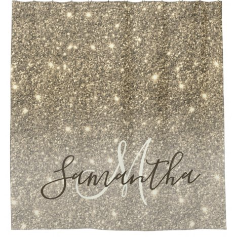 Modern Gold Glitter Sparkles Personalized Name Shower Curtain