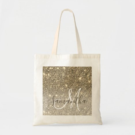 Modern Gold Glitter Sparkles Personalized Name Tote Bag