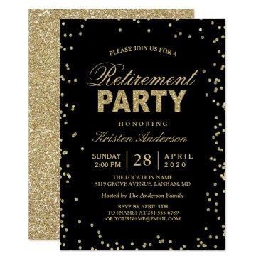 CardHunter Modern Gold Glitter Sparkles Retirement Party Card