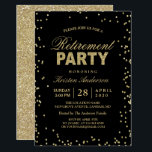 """Modern Gold Glitter Sparkles Retirement Party Invitation<br><div class=""""desc"""">Modern Gold Glitter Sparkles Retirement Party Invitation.  (1) For further customization,  please click the &quot;customize further&quot; link and use our design tool to modify this template.  (2) If you need help or matching items,  please contact me.</div>"""