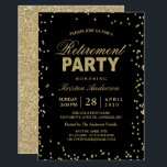 "Modern Gold Glitter Sparkles Retirement Party Invitation<br><div class=""desc"">================= ABOUT THIS DESIGN ================= Modern Gold Glitter Sparkles Retirement Party Invitation. (1) For further customization, please click the &quot;Customize it&quot; button and use our design tool to modify this template. All text style, colors, sizes can be modified to fit your needs. (2) If you need help or matching items,...</div>"
