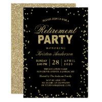 Modern Gold Glitter Sparkles Retirement Party Invitation