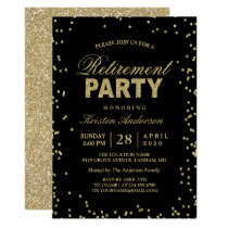 Modern Gold Glitter Sparkles Retirement Party Invitation