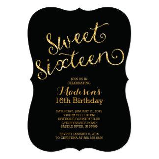Modern Gold Glitter Sweet Sixteen Birthday Party Card