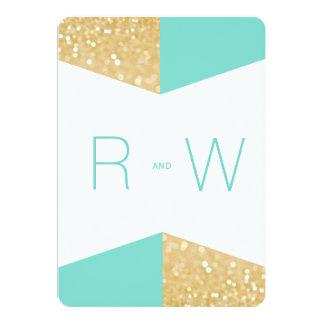 "Modern Gold Glitter & Teal Wedding Invitation 5"" X 7"" Invitation Card"