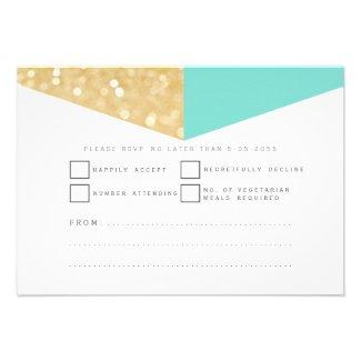 Modern Gold Glitter & Teal Wedding RSVP Cards
