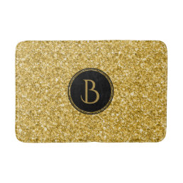 Modern Gold Glitter Texture With Monogram Bathroom Mat