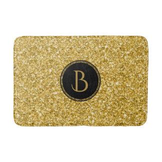 Modern Gold Glitter Texture With Monogram Bathroom Mat