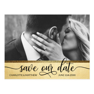 Modern Gold Glitter Wedding SAVE OUR DATE w/ PHOTO Postcard