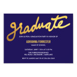 Modern Gold Graduate Typography Navy Blue Chevron Card