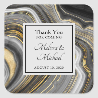 Modern Gold & Gray Agate Geode Gemstone Wedding Square Sticker