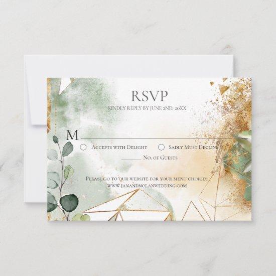 Modern Gold Green Botanical Geometric Wedding RSVP