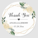 "Modern Gold Green Floral Wedding Favor Thank You Classic Round Sticker<br><div class=""desc"">Customize this ""Modern Ivory Green Floral Wedding Favor Thank You Sticker"" to add a special touch. It"