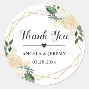 Modern Gold Green Fl Wedding Favor Thank You Clic Round Sticker
