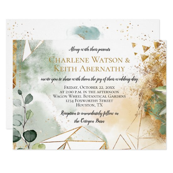Modern Gold Green Geometric Botanical Wedding Invitation