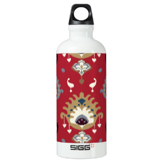 Modern gold grey red girly ikat tribal pattern aluminum water bottle
