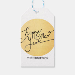 Modern Gold Happy New Year Typography Gift Tags