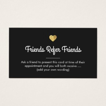 Valentines Themed Modern Gold Heart Customer Referral Card