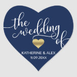 """Modern Gold Heart Navy Blue THE WEDDING OF Seals<br><div class=""""desc"""">If you are looking for something unique, here are simple yet elegant navy blue and white design THE WEDDING OF with faux gold foil heart in script topography letters. Add bride and groom initials / monograms or names. Background color can be changed to any color. Perfect for that modern, trendy...</div>"""