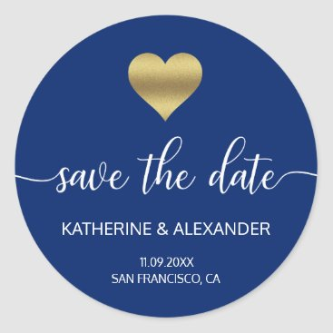 Valentines Themed Modern Gold Heart Navy Blue Wedding SAVE THE DATE Classic Round Sticker