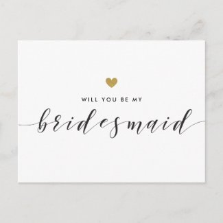 Modern Gold Hearts Will You Be My Bridesmaid Invitation Postcard