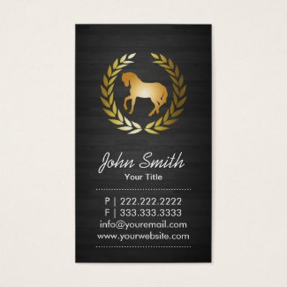 Modern Gold Horse Elegant Dark Wood Business Card