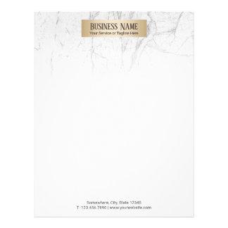 Modern Gold Label Elegant White Marble Letterhead