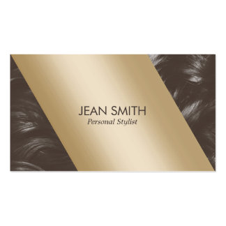 Modern Gold Label Tan Curly Hair Personal Stylist Business Card