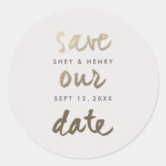 Modern Gold Leaf Faux Foil Save the date sticker