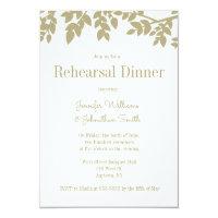 Modern gold leaves rehearsal dinner invitations