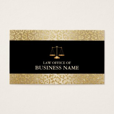Lawyer Themed Modern Gold Leopard Border Law Scale Attorney Business Card