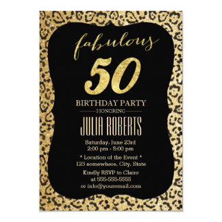 Modern Gold Leopard Print Fabulous 50 Birthday Card