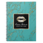 Modern Gold Lips Luxury Turquoise & Gold Marble Spiral Notebook