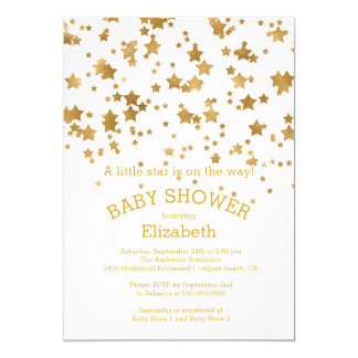 Modern Gold Little Star Baby Shower Invitation