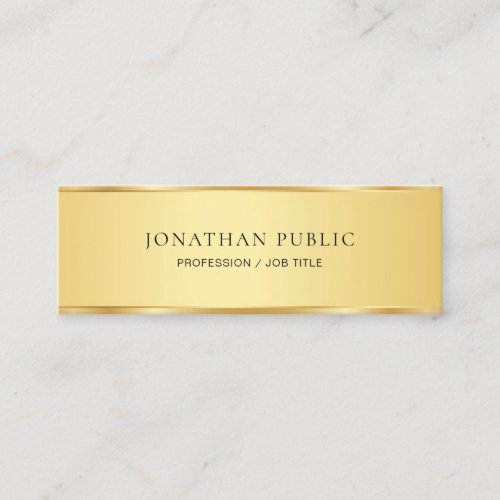 Modern Gold Look Elegant Minimalist Template Mini Business Card