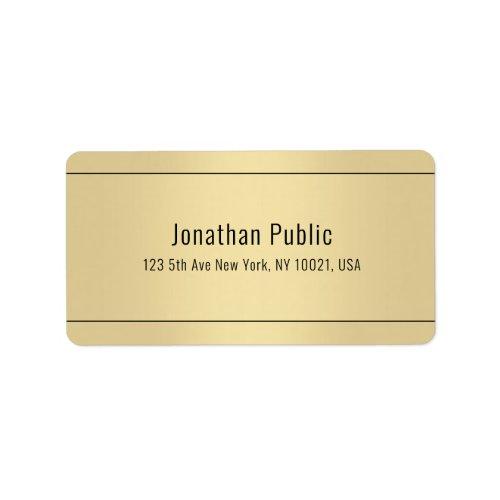 Modern Gold Look Simple Design Template Address Label