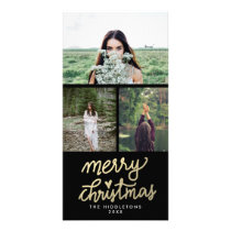 Modern Gold Merry Christmas Handwritten Card