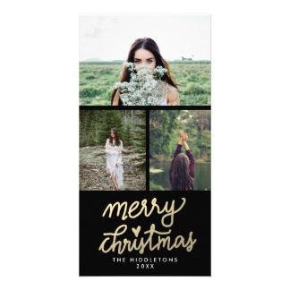 Modern Gold Merry Christmas Handwritten Card
