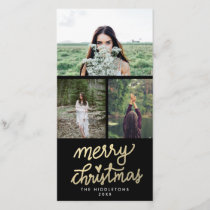 Modern Gold Merry Christmas Handwritten Holiday Card
