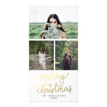 Modern Gold Merry Christmas Handwritten Script Card