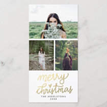 Modern Gold Merry Christmas Handwritten Script Holiday Card
